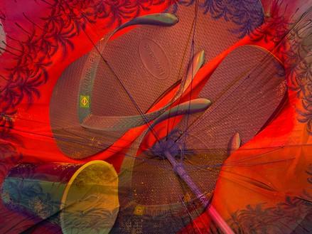 Roe Ethridge, Beach Umbrella with Cup and Flip Flops, 2020 Dye sublimation print on aluminum, 40 × 53 inches (101.6 × 134.6 cm), edition 1/5 + 2 AP© Roe Ethridge