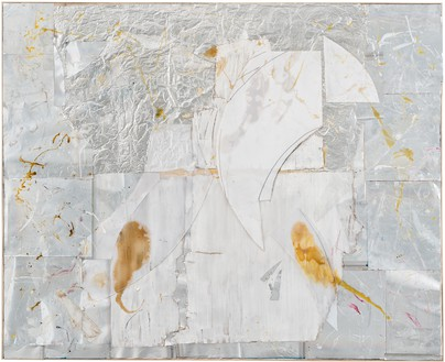 Rudolf Polanszky, Reconstructions / Double Twin Pictures, 2020 Aluminum, resin, silicone, cardboard, transparent tape, acrylic glass, pigment, and acrylic on canvas, in artist's frame, 83 ¼ × 102 ⅝ inches (211.4 × 260.5 cm)© Rudolf Polanszky. Photo: Jorit Aust