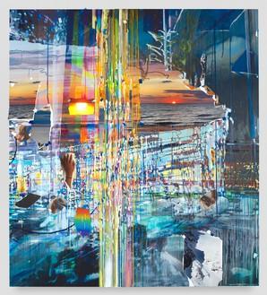 Sarah Sze, Landslide, 2021 Oil, acrylic, acrylic polymers, ink, aluminum, diabond, and wood, 84 × 75 ¾ inches (213.4 × 192.4 cm)© Sarah Sze. Photo: Sarah Sze Studio