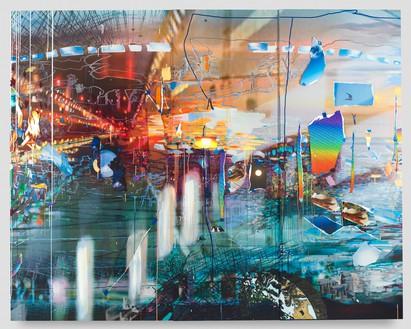 Sarah Sze, Free Fall, 2021 Oil, acrylic, acrylic polymers, ink, aluminum, diabond, and wood, 84 × 106 inches (213.4 × 269.2 cm)© Sarah Sze. Photo: Sarah Sze Studio
