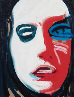 Spencer Sweeney, Woman with Blue Eye, 2021 Oil and charcoal on linen, 40 × 30 ½ inches (101.6 × 77.5 cm)© Spencer Sweeney. Photo: Rob McKeever