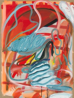 Spencer Sweeney, Elemental with Swan, 2021 Oil, distemper, and acrylic on linen, 40 × 30 ½ inches (101.6 × 77.5 cm)© Spencer Sweeney. Photo: Rob McKeever