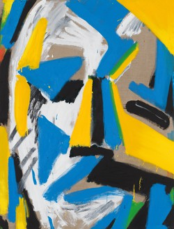 Spencer Sweeney, Head Construct Blue Yellow White, 2021 Oil and charcoal on linen, 40 × 30 ½ inches (101.6 × 77.5 cm)© Spencer Sweeney. Photo: Rob McKeever