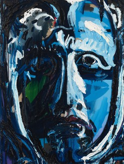 Spencer Sweeney, Blue Head in Shadow, 2020 Oil on linen, 40 × 30 ½ inches (101.6 × 77.5 cm)© Spencer Sweeney. Photo: Rob McKeever