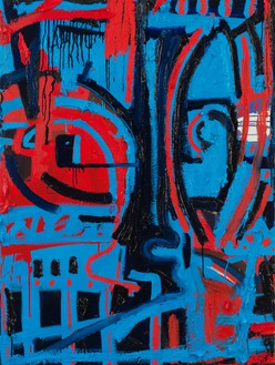 Spencer Sweeney, Atonal Music Mask Blue and Red: After Cecil Taylor, 2020 Oil, oil stick, and distemper on linen, 41 ½ × 30 ½ inches (105.4 × 77.5 cm)© Spencer Sweeney. Photo: Rob McKeever