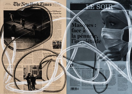 Tatiana Trouvé, March 23rd, The New York Times, USA; Le Soir, Belgium, from the series From March to May, 2020 Inkjet print and pencil on paper, 16 ⅝ × 23 ¼ inches (42.1 × 59.1 cm)© Tatiana Trouvé. Photo: Florian Kleinefenn