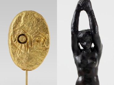 Detail of Thomas Houseago, Rock Demon 3, 2021, and Auguste Rodin, La Muse tragique, 1896