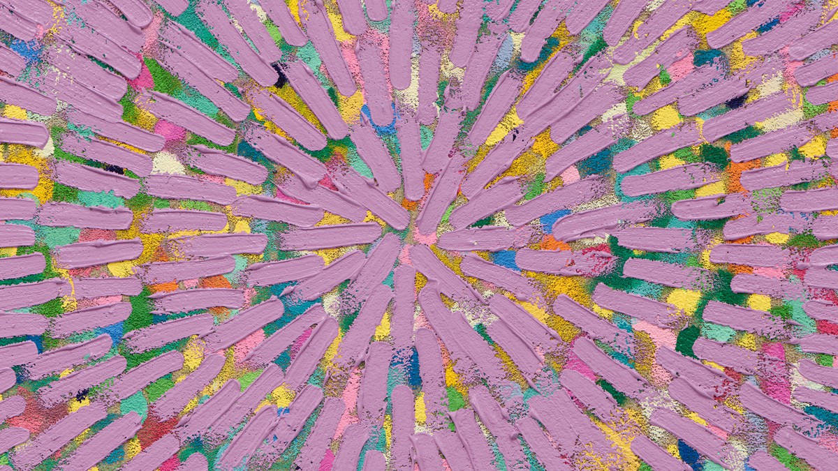 Jennifer Guidi, The Radiant Glow of Our Passion Within (Painted Universe Mandala, SF #9E Lavender – Natural Sand, Blue, Green, Yellow, Pink, Red Ground), 2021 (detail)