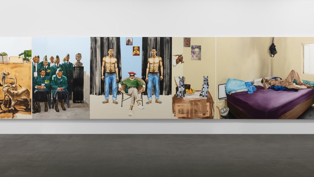 Meleko Mokgosi, Bread, Butter, and Power, 2018 (detail), installation view, Art Basel Unlimited