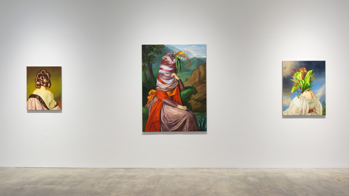 Installation photograph of Ewa Juszkiewicz In vain her feet in sparkling laces glow at Gagosian Park & 75 New York