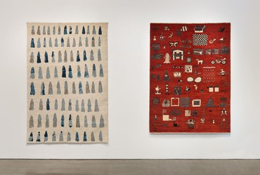 Installation view, The Afghan Carpet Project, Hammer Museum, Los Angeles, June 13–September 27, 2015. Artwork, left to right: © Jennifer Guidi, © Liz Craft