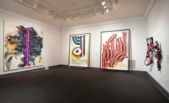 Installation view, No Man's Land: Women Artists from the Rubell Family Collection, National Museum of Women in the Arts, Washington, DC, September 30, 2016–January 8, 2017. Artwork, left to right: © Mary Weatherford, © Kerstin Brätsch, © Sonia Gomes