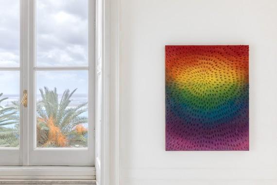 Installation view, Jennifer Guidi: Visible Light/Luce Visibile, Museo d'Arte Contemporanea di Villa Croce, Genoa, Italy, July 1–September 24, 2017. Artwork © Jennifer Guidi