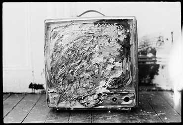 Painted television in Jean-Michel Basquiat and Alexis Adler's East 12th Street apartment, New York, c. 1979–80. Photo by Alexis Adler