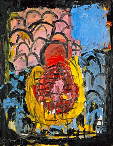 Georg Baselitz, Malerkopf wie Blumenstrauß I (Painter's Head as a Bouquet of Flowers I), 1987