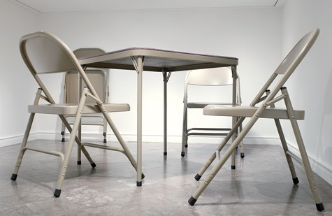 Robert Therrien, No title (folding table and chairs, beige), 2006, Albright-Knox Art Gallery, Buffalo, New York © Robert Therrien/Artists Rights Society (ARS), New York