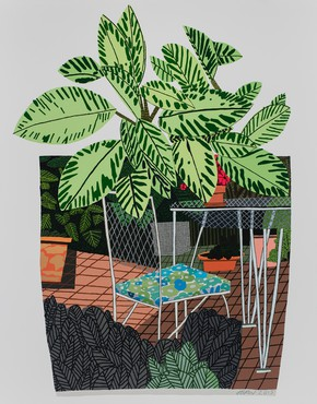 Jonas Wood, Landscape Pot with Flower Chair, 2016