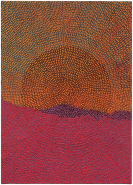 Jennifer Guidi, Eclipse (Painted Mandala Mountain SF #1A, Black Sand, Blue, Yellow, Purple, Red), 2017 © Jennifer Guidi