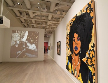 Installation view, Posing Modernity: The Black Model from Manet and Matisse to Today, Wallach Art Gallery, Columbia University, New York, October 24, 2018–February 10, 2019. Artwork (left) © Ellen Gallagher. Photo: Eileen Barroso