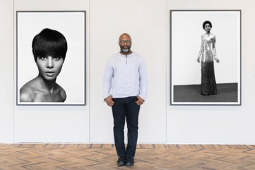 Installation view, The Black Image Corporation, Fondazione Prada, Milano Osservatorio, September 20, 2018–January 14, 2019, with Theaster Gates. Photo: Uga Dalla Porta