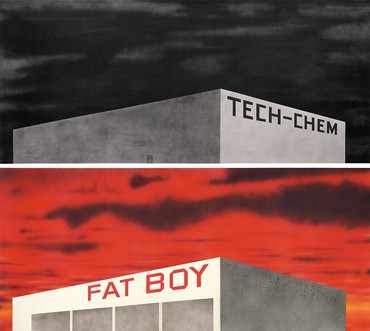 Top: Ed Ruscha, Blue Collar Tech-Chem, 1992, Broad Art Foundation, Santa Monica, CA © Ed Ruscha. Bottom: Ed Ruscha, The Old Tech-Chem Building, 2003, Broad Art Foundation, Santa Monica, CA © Ed Ruscha