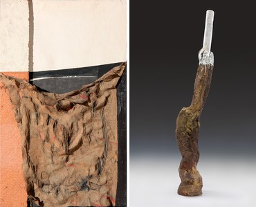 Left: Alberto Burri, Sacco Bianco Nero, 1956, Fondazione Palazzo Albizzini-Collezione Burri, Città di Castello © 2018 SIAE. Right: Sterling Ruby, CLOVEN HIKER, 2017 © Sterling Ruby. Photo: Robert Wedemeyer