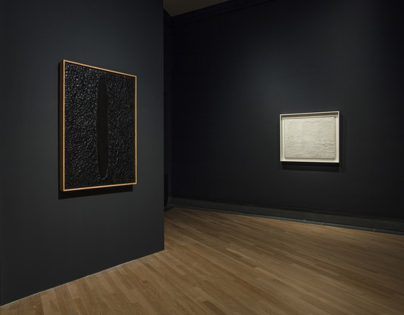 Installation view, Black Hole: Arte e matericità tra informe et invisibile, GAMeC—Galleria d'Arte Moderna et Contemporanea di Bergamo, Italy, October 4, 2018–January 6, 2019. Artwork, left to right: Fondazione Palazzo Albizzini-Collezione Burri, Città di Castello © 2018 SIAE; © Piero Manzoni/2018 SIAE. Photo: Antonio Maniscalco