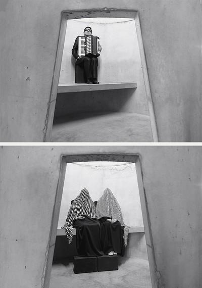 Aníbal González (top), Marisol Montiel andAna Luisa Montiel (bottom), An Occupation of Loss,Park Avenue Armory, New York, 2016. Photos© Taryn Simon