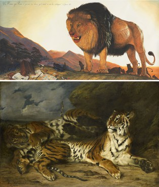 Top: Walton Ford, Un Homme Qui Reve, 2018 © Walton Ford. Photo: Tom Powell Imaging. Bottom: Eugène Delacroix, Young Tiger Playing with Its Mother, 1830, Musée du Louvre, Paris. Photo: RMN-Grand Palais (Musée du Louvre)/Franck Raux