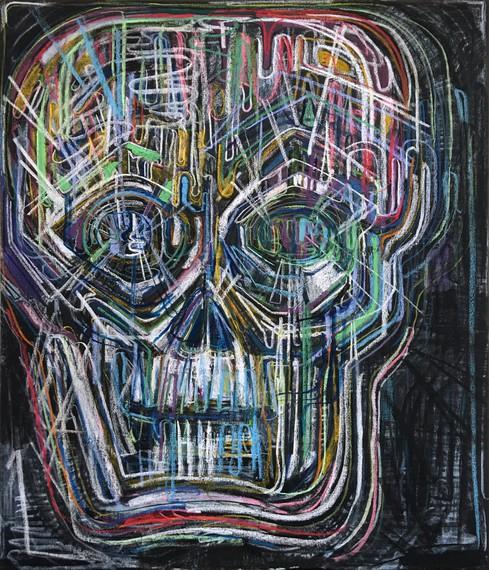 Thomas Houseago, Untitled (Colored Skull I), 2018 © Thomas Houseago