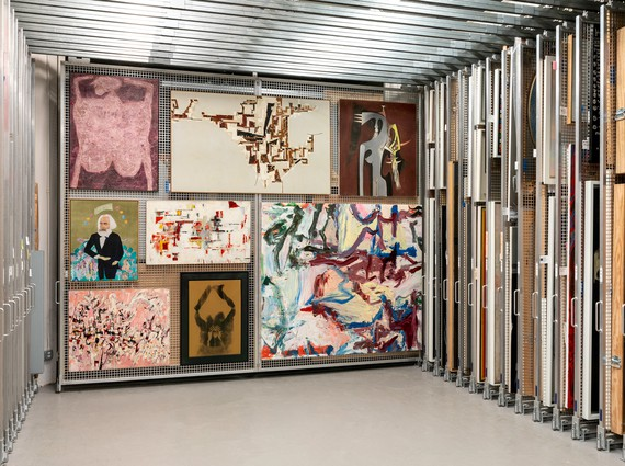 Works from the Solomon R. Guggenheim Museum's collection in storage. Artwork, clockwise from top left: Jean Dubuffet, Martin Barré, and Wifredo Lam © 2019 Artists Rights Society (ARS), New York/ADAGP, Paris; Willem de Kooning © 2019 The Willem de Kooning Foundation/Artists Rights Society (ARS), New York; David Hammons © David Hammons; Paul Wonner © Estate of Paul Wonner and William Theophilius Brown, Crocker Art Museum, Sacramento, California; Cecilia Vicuña © Cecilia Vicuña; Maria Helena Vieira da Silva © 2019 Artists Rights Society (ARS), New York/ADAGP, Paris. Photo: David M. Heald