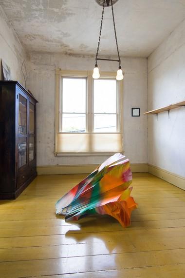 Katharina Grosse, Untitled, 2017, installation view, Amulet or He calls it chaos, 500 Capp Street Foundation, San Francisco, March 9–June 1, 2019. Artwork © Katharina Grosse and VG Bild-Kunst Bonn, 2019. Photo: Preston/Kalogiros