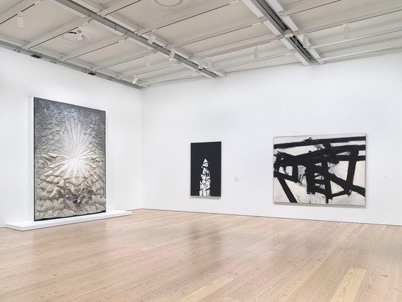 Installation view, The Whitney's Collection: Selections from 1900 to 1965, Whitney Museum of American Art, New York, June 28, 2019–May 2022. Artwork, left to right: © 2020 The Jay DeFeo Foundation/Artists Rights Society (ARS), New York; © Norman Lewis; © 2020 The Franz Kline Estate/Artists Rights Society (ARS), New York. Photo: Ron Amstutz