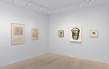 Installation view, A line (a)round an idea: Selected Works on Paper, Gagosian, Geneva, May 2–July 27, 2019. Artwork, left to right: © Cy Twombly Foundation; © 2019 Richard Artschwager/Artists Rights Society (ARS), New York; © 2019 The Franz Kline Estate/Artists Rights Society (ARS), New York; © Richard Serra; © 2019 Dedalus Foundation, Inc./Licensed by VAGA at Artists Rights Society (ARS), New York