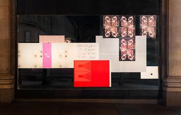 Selfridges Oxford Street shop windows featuring work by Richard Wright, London,2019