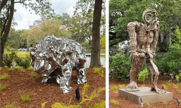 Left: Frank Gehry, Bear With Us, 2014 © Frank Gehry. Right: Thomas Houseago, Striding Figure (Rome I), 2013 © Thomas Houseago. Photos: Roman Alokhin