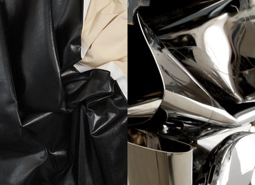 Left: Steven Parrino, Untitled, 2004 (detail) © Steven Parrino, courtesy Parrino Family Estate. Right: John Chamberlain, GOOSECAKEWALK, 2009 (detail) © 2019 Fairweather & Fairweather LTD/Artists Rights Society (ARS), New York