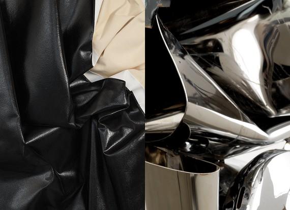 Left: Steven Parrino, Untitled, 2004 (detail) © Steven Parrino, courtesy Parrino Family Estate. Right: John Chamberlain, GOOSECAKEWALK, 2009 (detail) © 2019 Fairweather & Fairweather LTD/Artists Rights Society (ARS), New York