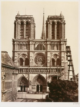 Édouard Baldus, Notre-Dame (façade), c. 1860s, albumen silver print from glass negative, 10 ⅞ × 8 ⅜ inches (27.6 × 21.1 cm), Metropolitan Museum of Art, New York