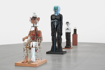 Installation view, Huma Bhabha: The Company, Gagosian, Rome, September 19–December 14, 2019. Artwork © Huma Bhabha