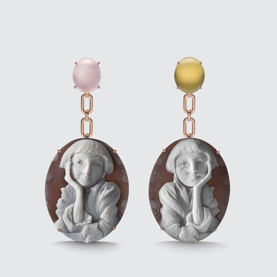 Earrings from Liz Swig's Cameo collection, featuring Cindy Sherman's Pensive from her Instagram series