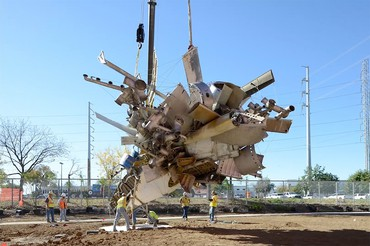Nancy Rubins's 5,000 lbs. of Sonny's Airplane Parts, Linda's Place, and 550 lbs. of Tire-Wire (1997) being installed at Ruby City in San Antonio, Texas, 2019