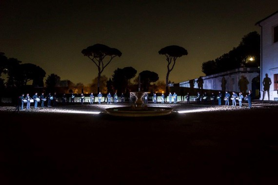 Piero Golia's performance for Art Club at the French Academy at Villa Medici, Rome, 2016. Photo: Sebastiano Luciano