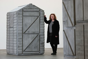 Rachel Whiteread with her sculpture Detached I (2012) at Gagosian, Britannia Street, London, 2013. Photo: Dan Kitwood/Getty Images