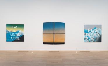 Installation view, Ed Ruscha: Artist Rooms, Tate Modern, London, July 26, 2019–July 18, 2021. Artwork © Ed Ruscha. Photo © Tate (Oliver Cowling)
