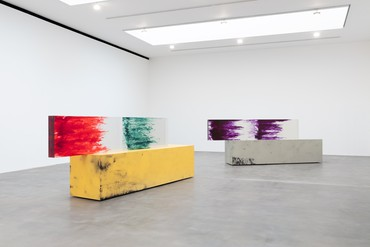 Installation view, Sterling Ruby: ACTS + TABLE, Gagosian, Britannia Street, London, October 2–December 14, 2019. Artwork © Sterling Ruby. Photo: Lucy Dawkins