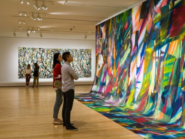 Installation view, Mural: Jackson Pollock | Katharina Grosse, Museum of Fine Arts, Boston, July 1, 2019–February 23, 2020. Artwork, left to right: © 2020 The Pollock-Krasner Foundation/Artists Rights Society (ARS), New York; © Katharina Grosse and VG Bild-Kunst Bonn, 2020