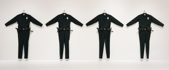 Chris Burden, L.A.P.D. Uniforms, 1993, installation view,Made in California: Art, Image and Identity, 1900–2000, Los Angeles County Museum of Art © Chris Burden/Licensed by the Chris Burden Estate and Artists Rights Society (ARS), New York. Photo: Museum Associates/LACMA