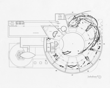 Sarah Sze, sketch for exhibition installation at the Solomon R. Guggenheim Museum, New York, 2020