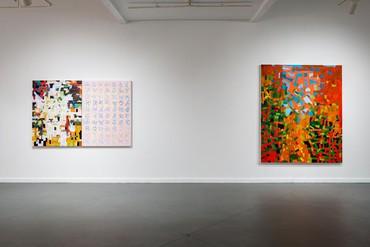 Installation view, Rick Lowe: New Paintings & Drawings, Art League Houston, September 26, 2020–April 24, 2021. Artwork © Rick Lowe Studio. Photo: Alex Barber